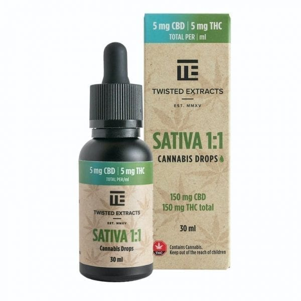 Sativa 1:1 Cannabis Oil Drops | 150mg THC + 150mg CBD | Twisted Extracts (Orange Flavour)