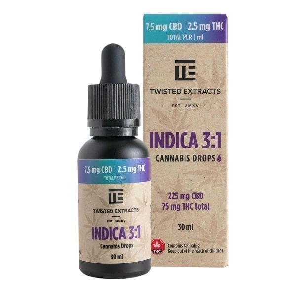 Indica 3:1 Cannabis Oil Drops | 75mg THC + 225mg CBD | Twisted Extracts (Orange Flavour)