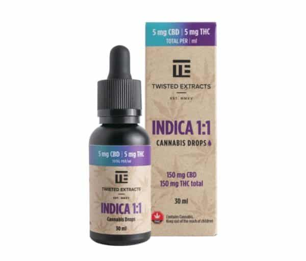 Indica 1:1 Cannabis Oil Drops | 150mg THC + 150mg CBD | Twisted Extracts (Orange Flavour)